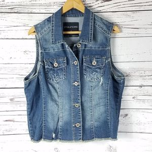 Maurices distressed jean vest